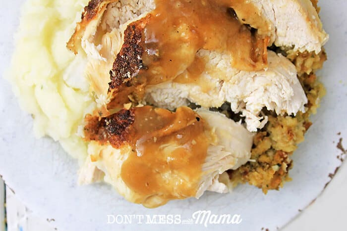 Closeup of Instant Pot turkey and mashed potatoes on a plate