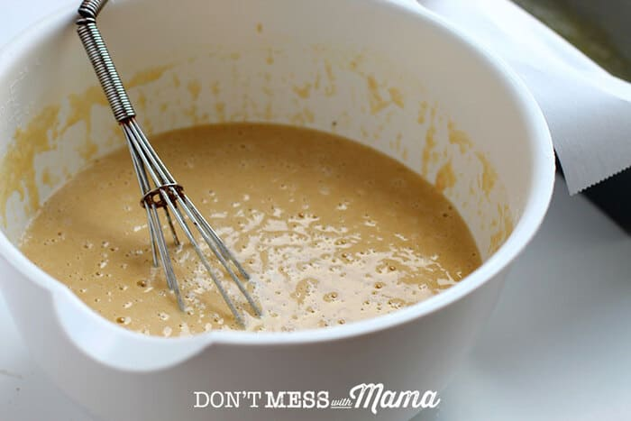 mixing bowl with batter in it