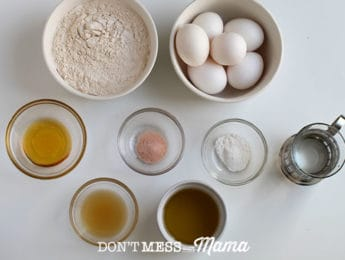 top down shot of ingredients for Paleo Sandwich Bread