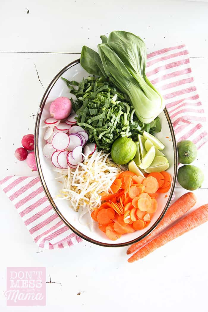 Closeup of ingredients for Vietnamese pho
