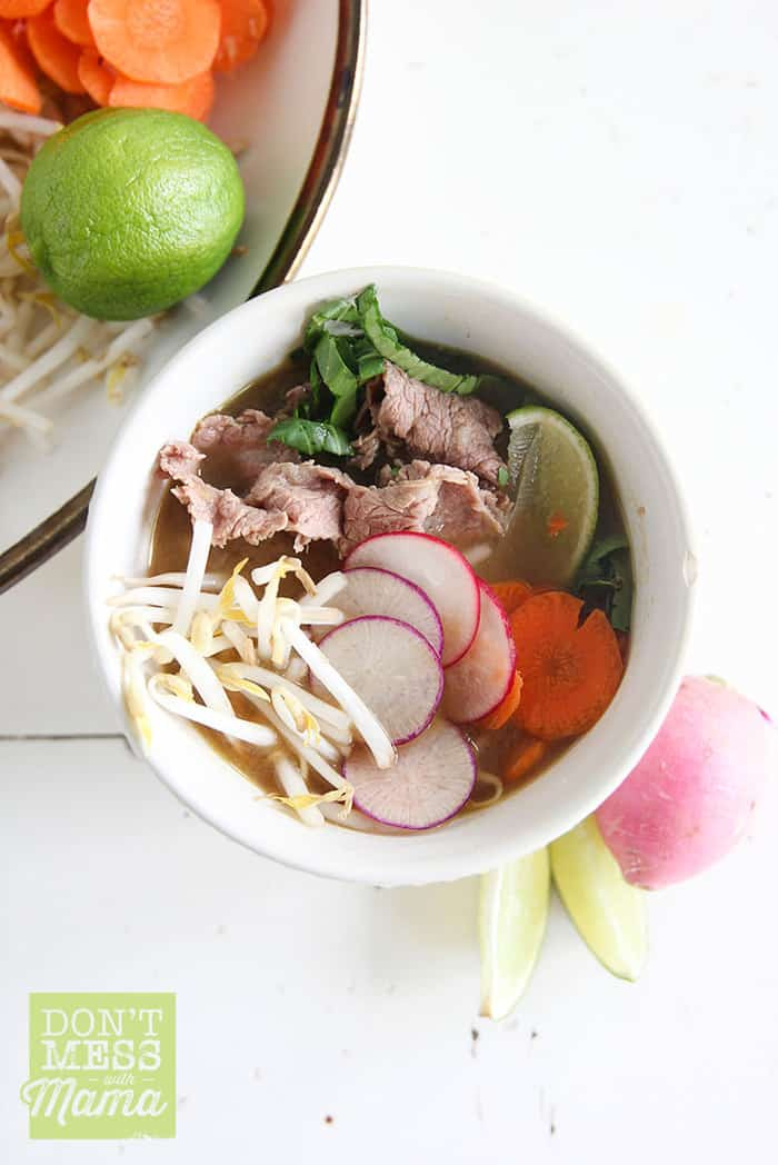 Closeup of Vietnamese pho in a white bowl