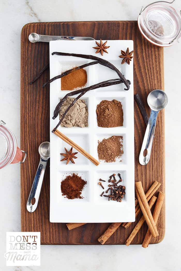 Spices on a plate to make a vanilla chai latte