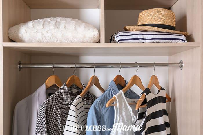 Organized closet with a capsule wardrobe