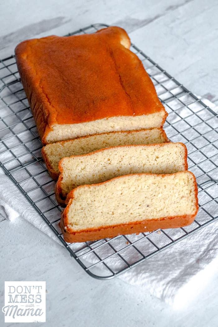 sliced Keto bread on a wire baking rack