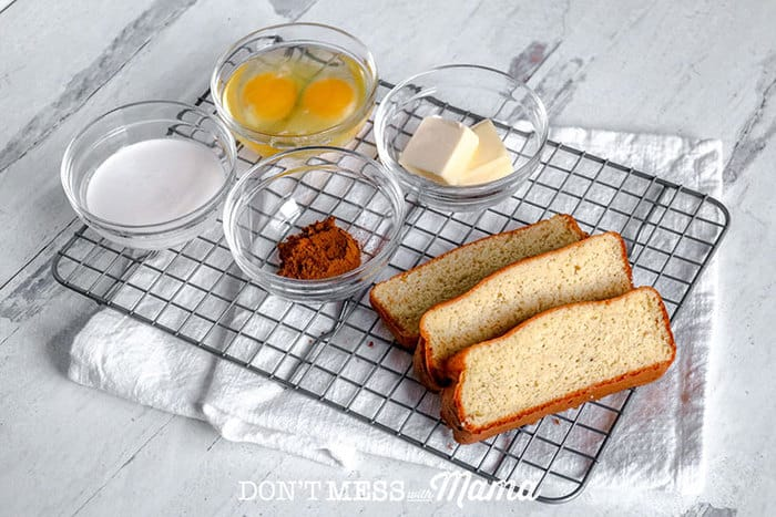 ingredients to make low-carb french toast on a baking rack