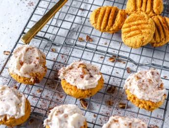 Low-Carb Pumpkin Muffin with Cream Cheese and Pecan Frosting - Don't Mess with Mama