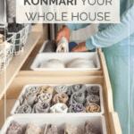 woman organizing her wardrobe using the KonMari method