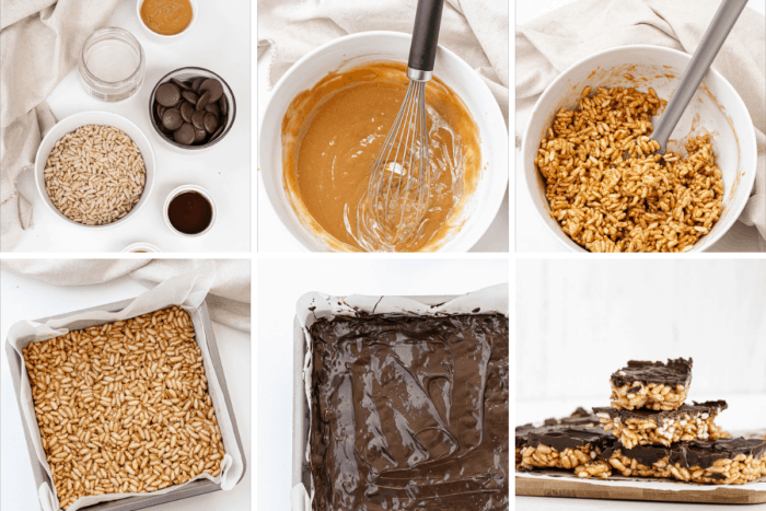 collage of puffed rice bars process images