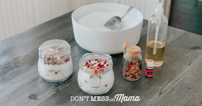 two jars of jasmine rose bath salts