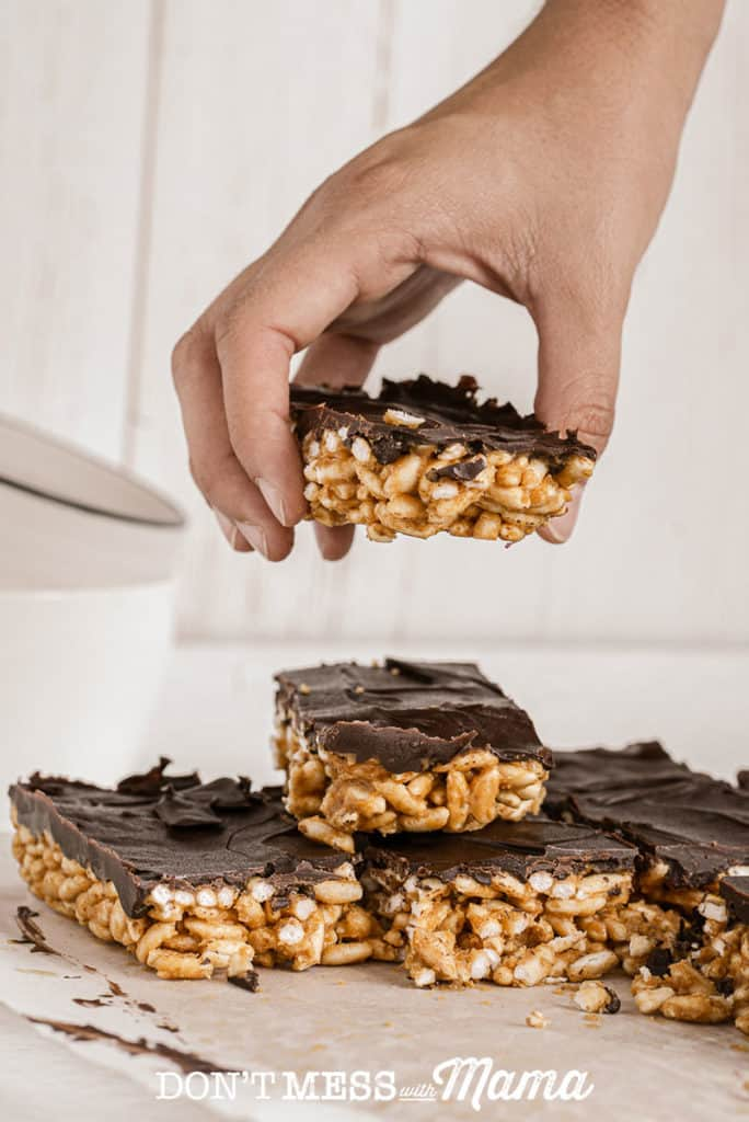Stack of puffed rice bars with chocolate