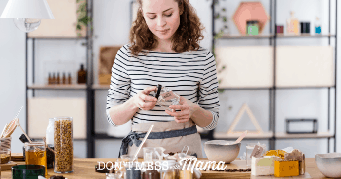 Woman in striped clothing making own skin care products