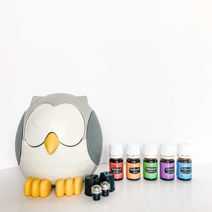 Feather the Owl diffuser with a set of KidScents essential oils and roller fitments on a table