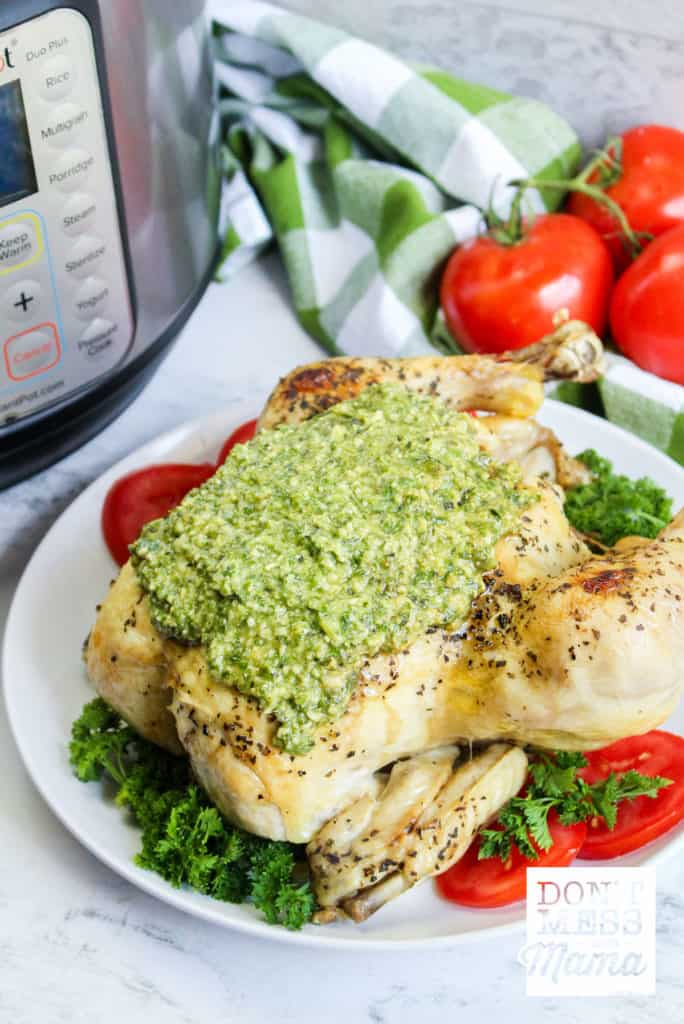 chicken covered in pesto on plate with instant pot