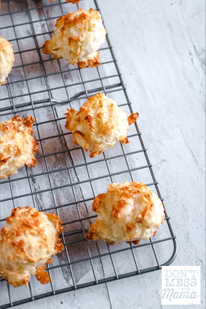 coconut macaroons on cooling rack