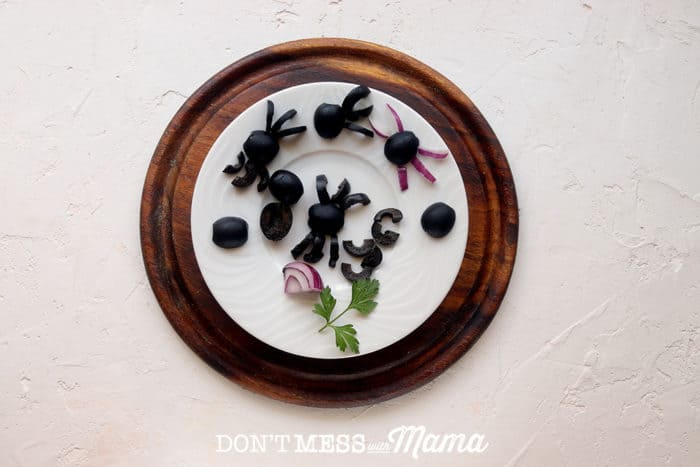 spiders made from black olives