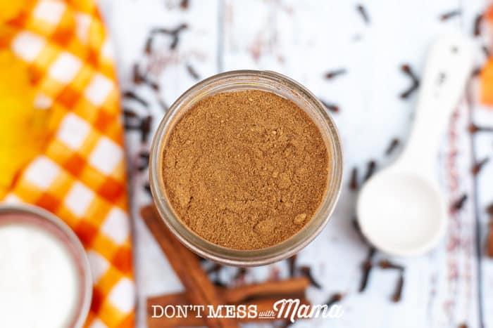 jar of pumpkin pie spice open