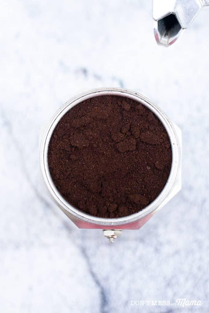 espresso ground in a moka pot
