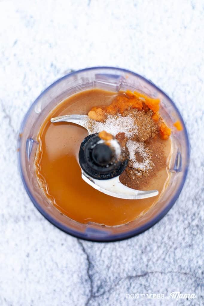 pumpkin puree and espresso in a blender